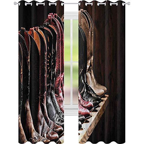 Cortina de oscurecimiento de habitación, varios tipos de Fancy Rodeo Cowgirl botas de cuero colección sobre tabla de madera, cortinas opacas de 52 x 95 para habitación de los niños, marrón