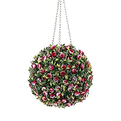 ROY 11inch Hanging Topiary Ball-Artificial Flowers Ball Plant with Chain (Red?Green)