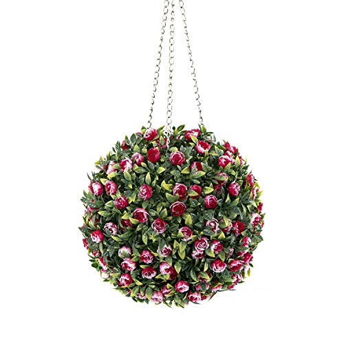 ROY 11inch Hanging Topiary Ball-Artificial Flowers Ball Plant with Chain (Red,Green)