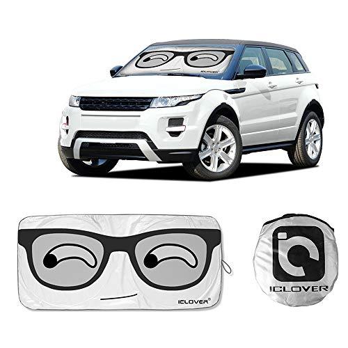 "DiDaDi Car Sun Shade Windshield Sunshade Cover Cute Cartoon Eyes Sunshades UV Protector Novelty Visor Foldable shield for SUV Auto Vehicle baby kids window (59""x33"")"