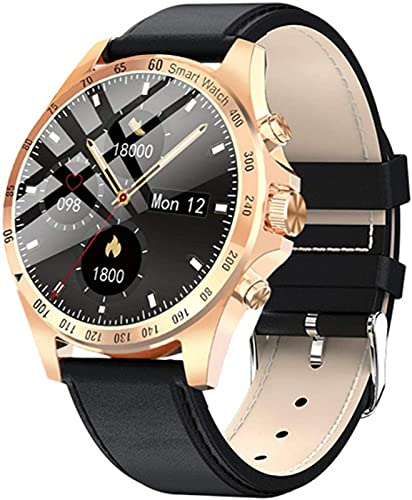 JXFF LW09 - Reloj inteligente para hombre, control de la presión arterial y la frecuencia cardíaca, control de música, reloj deportivo multifuncional, impermeable, apto para Android IOS (A)