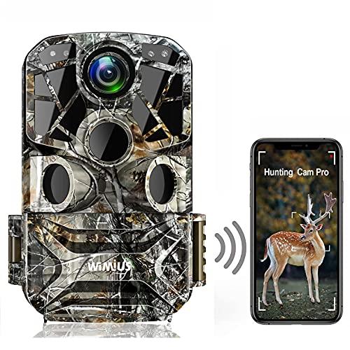 WiMiUS Fototrappola WLAN, 24MP 1296P Fotocamera Caccia WiFi con Visione Notturna, Grandangolo 120 ° e Impermeabilità IP66, Ideale per Animali Selvatici, Caccia e Sicurezza Domestica
