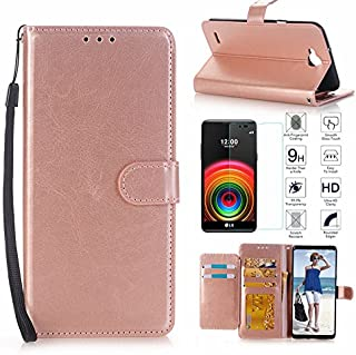 LG X Power 2 Case,LG Fiesta LTE/LG X Charge Case,LG LV7 Case with Screen Protector, I VIKKLY [Kickstand] Magnetic Snap Premium PU Leather Folio Flip Wallet with 5 Card Slot and Wrist Strap (Rose Gold)