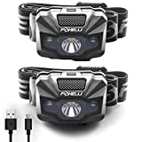 Foxelli 2-Pack USB Rechargeable Headlamp Flashlight - 180 Lumen, up to 40 Hours of Constant Light on a Single Charge, Bright White Led & Red Light, Compact, Lightweight & Comfortable Headband