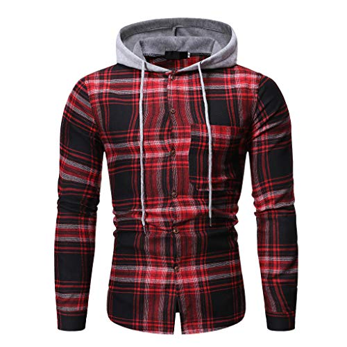 Best Deals! Men Plaid Hooded Jacket Long Sleeve Lattice Painting Hoodie Winter Slim Fit Button Top B...