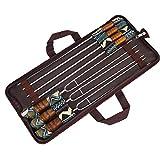 La barbacoa Tenedor Conjunto de acero inoxidable agujas que asa en forma de U de metal Shish Kebab Brochetas 7PCS, Utensilios de picnic