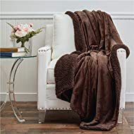 The Connecticut Home Company Micromink Velvet with Sherpa Reversible Throw Blanket, Many Colors, Soft Large Wrinkle Resistant Blankets, Warm Hypoallergenic Washable Couch or Bed Throws, 65x50, Brown