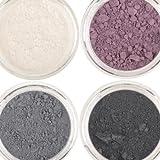honeypie minerales Mineral Eyeshadow–morado humo Collection Set (4x 1g) color gris negro, color gris, morado Color morado y perlas