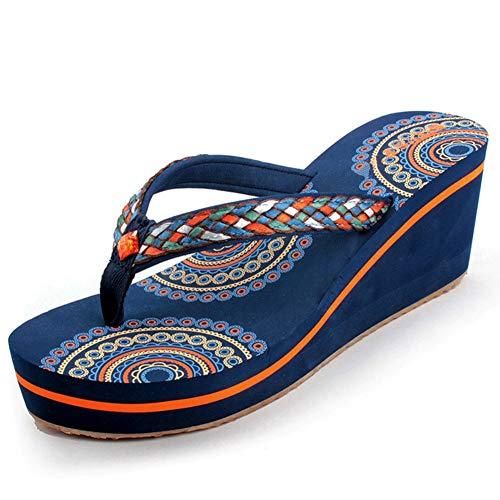 JYDAN Mujeres Chanclas De Cuña Zapatos Tacón Sandalias Playa Pantuflas Plataforma,Blue,37