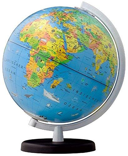 Terra Kinderglobus beleuchtbar: 26 cm Durchmesser, Kunststofffuß marineblau, Kunststoffmeridian weiß, mit Begleitleporello, in 4-farb Geschenkverpackung (terra Globen)
