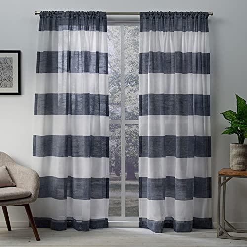 Exclusive Home Curtains Darma Light Filtering Semi-Sheer Linen Rod Pocket Curtain Panel Pair, 50x84, Indigo, 2 Count