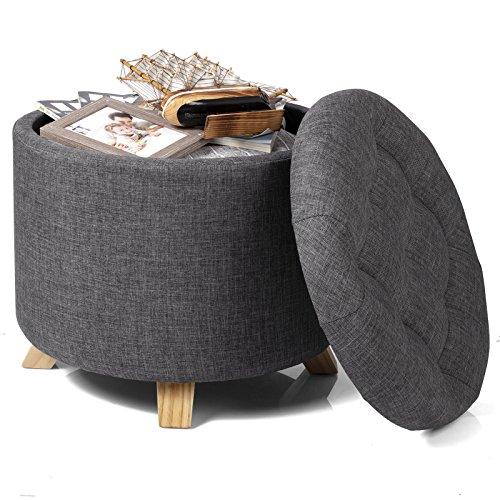 eSituro SOM0032 Sitzhocker Truhen Polsterhocker Aufbewahrungsbox Sitzwürfel mit Stauraum Deckel Abnehmbar Leinen Dunkelgrau