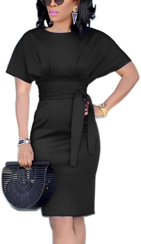 SCORP Women Short Sleeve Wear to Work Pencil Dress with Belt SXXXL