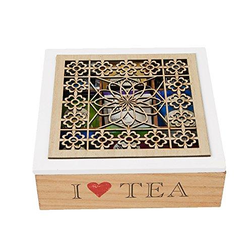 Mind Reader 9-Section Tea Organizer, Teabag Caddy, Brown/White