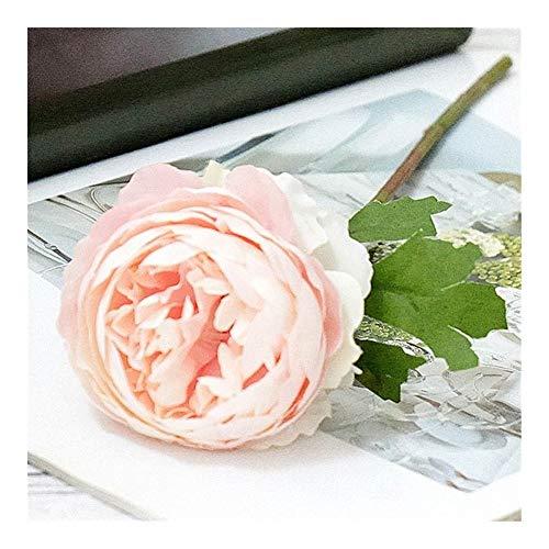 JiaQinHe Restos Seda Blanco de Las Rosas de Las Flores Artificiales for la decoración casera Peony Peony Rosado Falso Flores decoración DIY Wedding Pared De Calidad Alta Flores Nunca