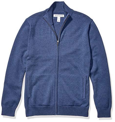 Amazon Essentials Men's Full-Zip Cotton Sweater, Blue Heather, X-Large