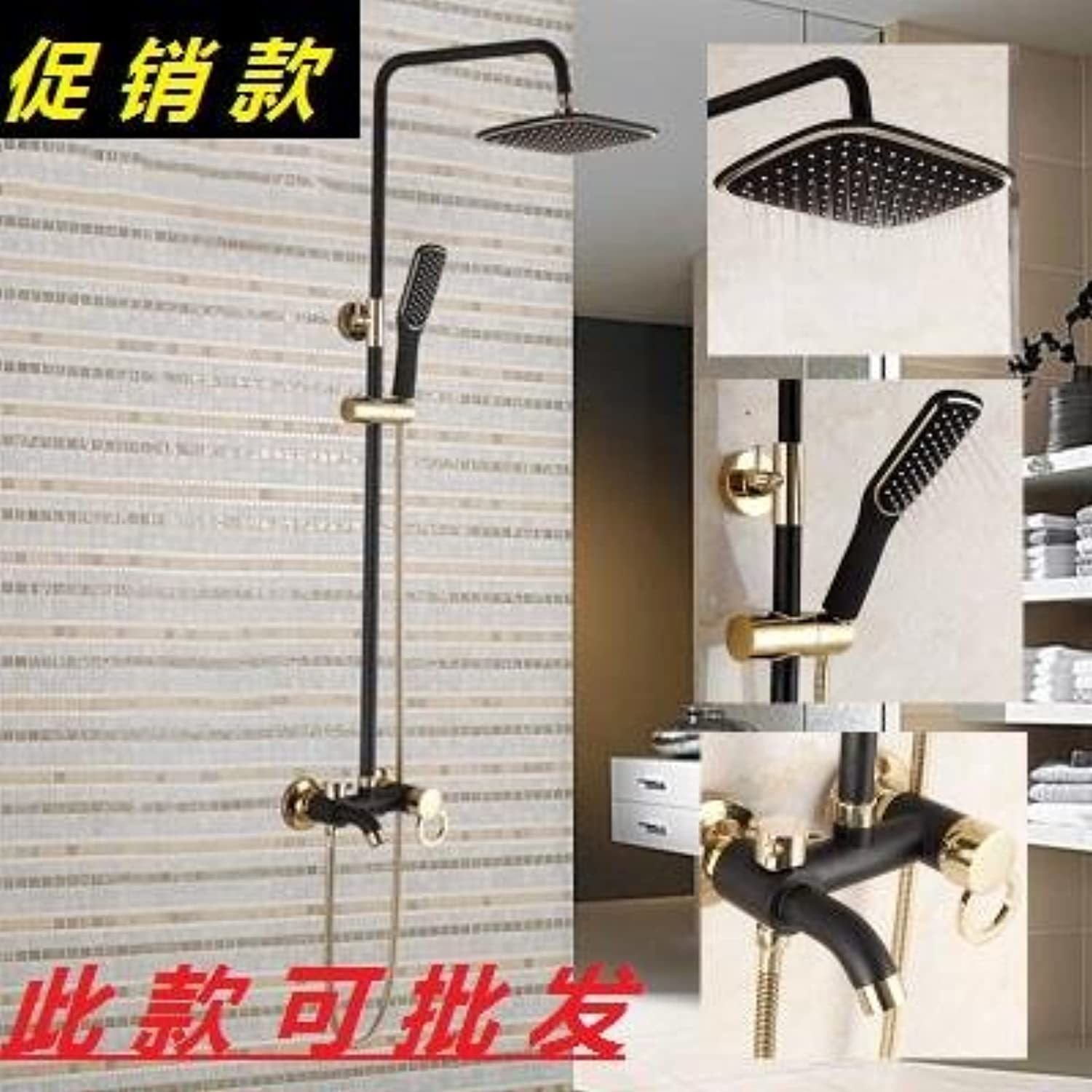 SADASD Contemporary Bathroom Full Brass Faucet Shower Faucet Black gold Ceramic Valve Single Hole Single Handle Cold Water With G1 2 Hose
