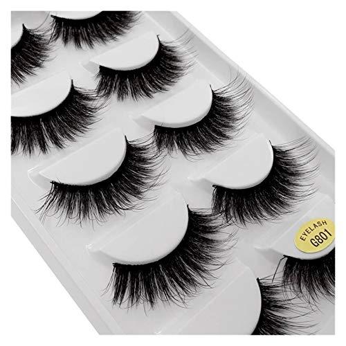 QH Five Pairs Of False Eyelashes Mink Eyelashes Natural 3D 3d Soft Mink Eyelashes False Eyelashes (Color : G801, Length : Mink Eyelashes)