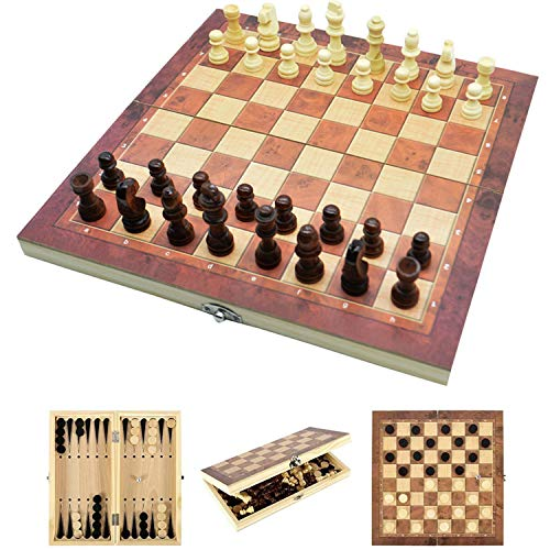 Jsdoin 3 in 1 Chess Set - 17.5'x17.5' Wooden Chess Board, Educational Board Games, Wooden Chess Set for Boys, Girls, Family Games(44cm×44cm)