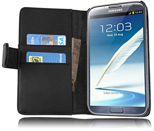 Cadorabo Funda Libro para Samsung Galaxy Note 2 en Negro DE Caviar - Cubierta Proteccíon de Cuero Sintético Liso con Tarjetero y Función de Suporte - Etui Case Cover Carcasa