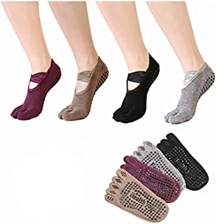 Yoga Socks Non Slip Skid with Grips for Ballet,Pilates,Barre,Exercise,Dance,Studio,Gifts For Women 4 Pairs