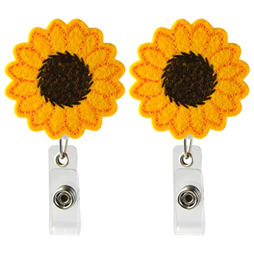 2 Pack Sunflower Retractable Badge Reel Holde with Swivel Alligator Clip,Accurate Stitching, Reinforced Strap, Easy Retracting for Office, Bank, Hospital, Perfect Gifts for Women Nurse Teacher