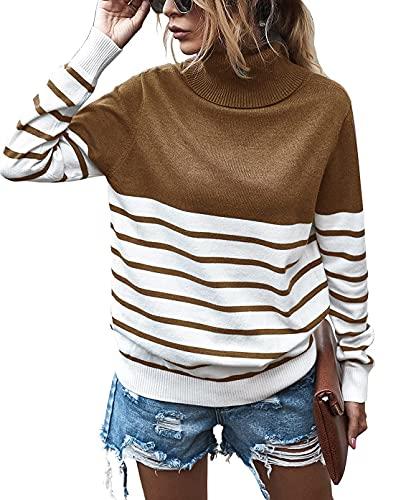 Stevemary Suéter de Punto para Mujer Rayas Color Block Patchwork Suéter Acanalado Suelto Suéter Tops