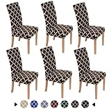 Smiry Chair Covers for Dining Room Set of 6, Morocco Printed Stretchy Dining Room Chair Covers, Washable Parsons Chair Slipcovers for Kitchen, Home, Party (Brown)