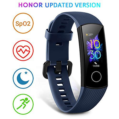 HONOR Band 5 Montre Connectée Podometre Cardio Montre Intelligente Bracelet Connecté Sport Running Sommeil Calorie Smart Watch Android iOS Smartband, Bleu