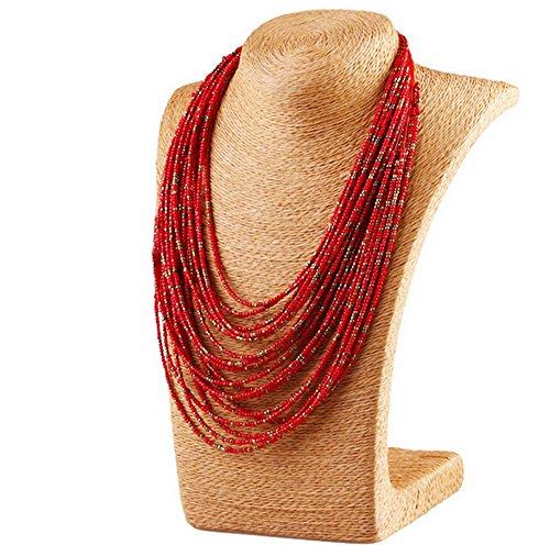 fablcrew–Collar con colgante para Mujer–collar multicapa perlas Turquesa–rojo–Aleación–56cm