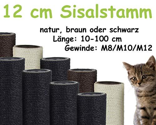 Kratzbaumland 12 cm Sisalstamm, Ersatzstamm für Kratzbaum: Länge: 10 cm/Gewinde: 8 mm (M8), Farbe des Sisalseils - schwarz