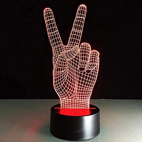 3D-Illusionslampe LED-Nachtlicht, bestes Weihnachtsgeschenk , 7 Farben Auto Changing Touch Switch Schreibtisch Dekoration Lampen Geburtstagsgeschenk , Gemütliche und sehr schöne Siegesgeste