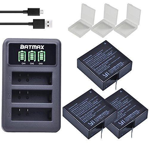 Batmax 3Pcs AZ16-1 Battery + LED USB 3-Slots Charger for Xiaomi YI AZ16-1,AZ16-2 and Xiaomi Yi 4K,Yi 4K+,Yi Lite,YI 360 VR Action Cameras