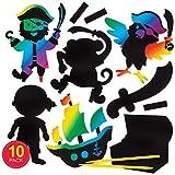"""Baker Ross Kratzbild-Bastelsets """"Piraten"""" mit Magneten (10 Stück) – buntes Regenbogen-Kratzpapier – Bastelidee für Kinder"""