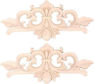 HEALLILY Onlay Lot de 2 appliques murales en bois sculpté, non vernies, pour porte fleur, décoration en bois, porte de l'a...