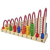 SODIAL Juguete de abaco de madera para ninos que cuenta granos juguete educativo de aprendizaje de matematicas