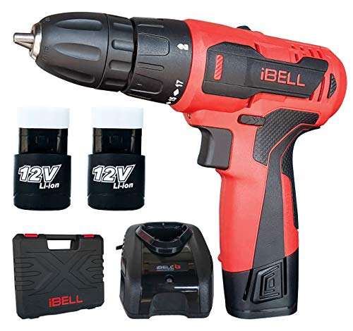 iBELL Cordless Drill Driver CD12-74, 12-Volts, 2 Battery+BMC Box