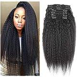 Juego de extensiones de pelo humano, de estilo afro, recto, rizado, con clip, Remy, cabello Malasio, color natural, cabeza completa, con clips, grueso, 120 g, para mujeres de color, 8 unidades