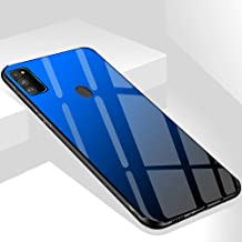 TheGiftKart Luxurious Glass Back Case with Shockproof TPU Bumper Back Case Cover for Samsung Galaxy M30s (Blue & Black)