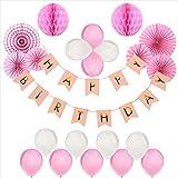 Foonii 22er Geburtstag Dekoration Set Happy Birthday, Mädchen Geburtstagsparty Luftballons pink Motiv Fahne für Geburtstag Party Dekoration Kindergeburtstag Deko