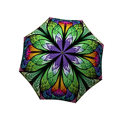 Designer Umbrella Windproof Auto Open Close - Art Umbrella for Women - Fashion Umbrella Stained Glass - Compact Automatic Rain Umbrella Peacock Purple Design - Vintage Umbrella Stylish Gift by LB