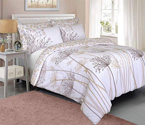 Sleepdown Meadow Natural Floral Reversible Duvet Cover Quilt Bedding Set with Pillow Cases Soft Easy Care - Double (200cm x 200cm)