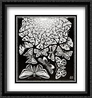 ArtDirect M.C. Escher 2X Matted 28x30 Black Ornate Large Framed Art Print 'Butterflies'