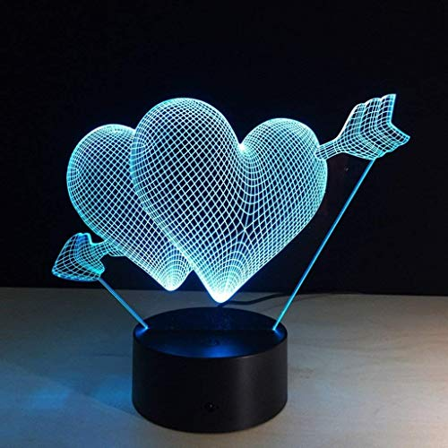YWAWJ 3D-Nachtlichter for Kinder, Nehmen Sie einen Pfeil Modern Control und Touch 7 Farben ändern, Tisch, Schreibtisch Schlafzimmer Deco Täuschungs-Lampen als Geschenk-Ideen for Jungen oder Mädchen