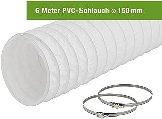 EASYTEC Abluftschlauch Durchmesser 150 mm / 152 mm Länge 6 Meter PVC Schlauch mit 2 Schellen