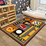 Kid Play Mat Kid Animal Carpet Sport Playtime rug with Dinosaur Football Basketball for Home Décor Children Bedroom Playroom Child Gift Blue Lightweight Non-Slip Washable