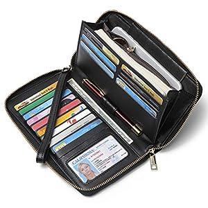 CLUCI Women Wallet Large Leather Designer Zip Around Card Holder Organizer Ladies Travel Clutch Wristlet 6