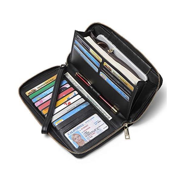 CLUCI Women Wallet Large Leather Designer Zip Around Card Holder Organizer Ladies Travel Clutch Wristlet 1