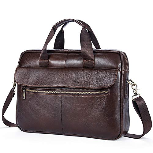 KK Zachary Brown First Layer Cowhide 14 Inch Laptop Bag Men Fashion Business Briefcase Outdoor Shoulder Bag 39.5 * 9 * 29.5CM