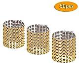Eyourlife 100 Stücke Strass Serviettenring Golden Silber Serviette Ring mit Klettverschluss für Hochzeit Weihnachten Ball Dinner Deko Tischdeko - 6